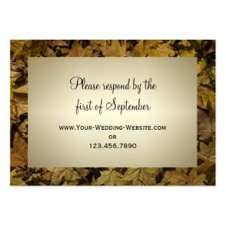 Yellow Fallen Leaves Wedding RSVP Response Card Business Card