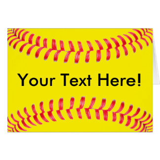 Yellow Fastpitch Softball Custum Greeting Card