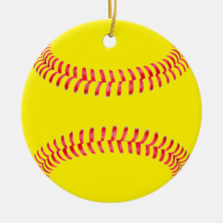 Yellow Fastpitch Softball Round Christmas Ornament