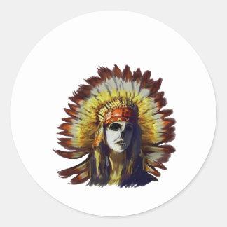 Yellow Feather Round Sticker