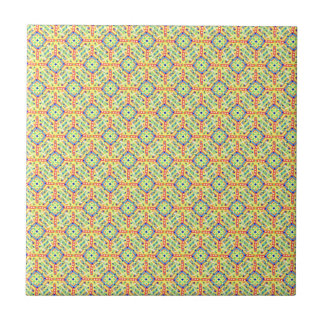 Yellow Festival Pattern Small Square Tile