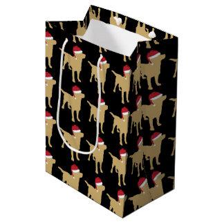Yellow Festive Labrador Retriever In Red Santa Hat Medium Gift Bag