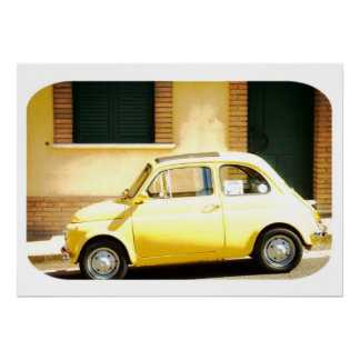 Yellow Fiat 500, Cinquecento, in Italy Poster