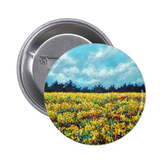 yellow field of wildflowers pinback button