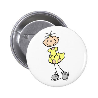 Yellow Figure Skater Button