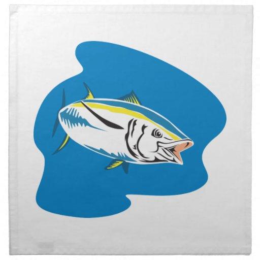 Yellow Fin Tuna Fish Retro Cloth Napkin