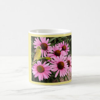 Yellow Finch and Pink Cone Flowers - Coffee Mug