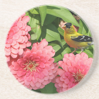 Yellow Finch and Pink Flowers - Coaster