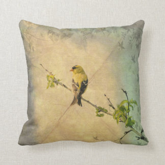 Yellow Finch Bird on Tree Branch Vintage Style Cushion