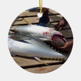 yellow fins tuna ceramic ornament
