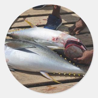 yellow fins tuna classic round sticker