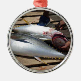 yellow fins tuna metal ornament
