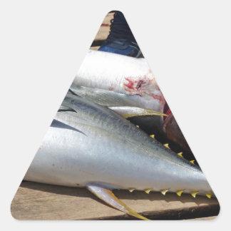 yellow fins tuna triangle sticker