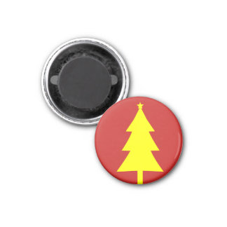 Yellow Fir Christmas Tree Funky Fridge Magnet