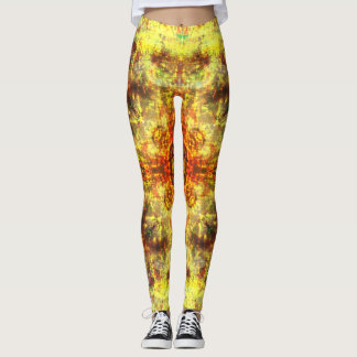 Yellow fire mandala leggings