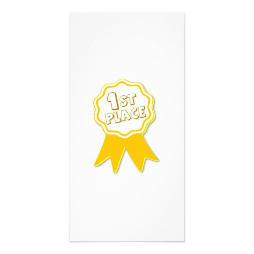 Yellow First Place Ribbon Photo Greeting Card