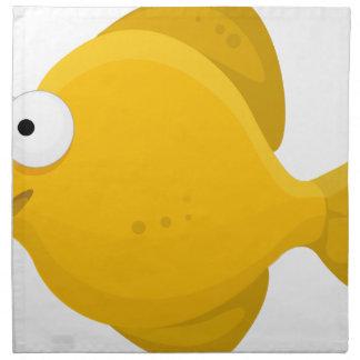 Yellow Fish Cartoon Napkin