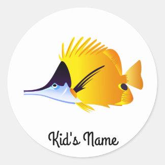Yellow fish classic round sticker