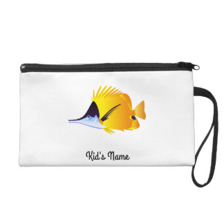 Yellow fish wristlet purse