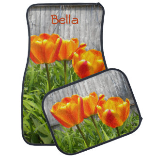 Yellow Flamed Red Tulips Car Mats *Personalize*
