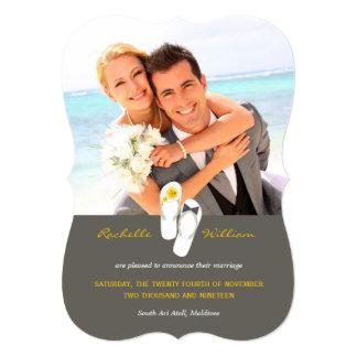 Yellow Flip Flops Beach Wedding Photo Announcement