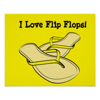 Yellow Flip Flops Pop Art Poster