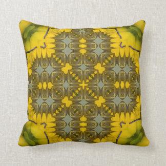 Yellow Flora Kaleidoscope Pattern Image 1 Cushion