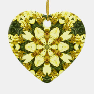 yellow floral abstract design daisies ceramic heart decoration