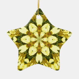 yellow floral abstract design daisies ceramic star decoration