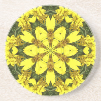 yellow floral abstract design daisies coaster