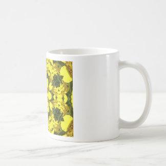 yellow floral abstract design daisies coffee mug