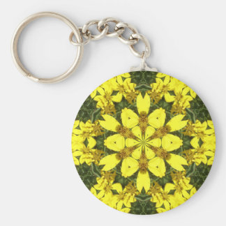 yellow floral abstract design daisies key ring