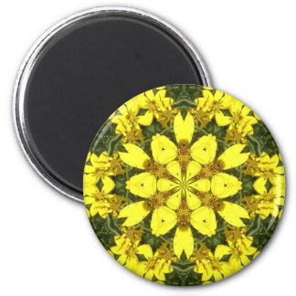 yellow floral abstract design daisies magnet