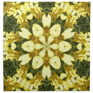 yellow floral abstract design daisies napkin