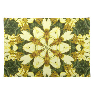 yellow floral abstract design daisies placemat