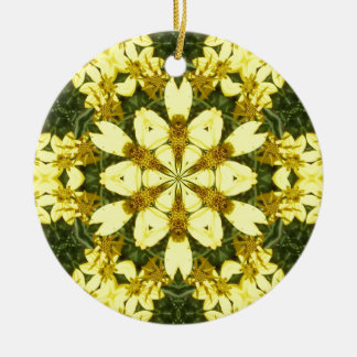 yellow floral abstract design daisies round ceramic decoration
