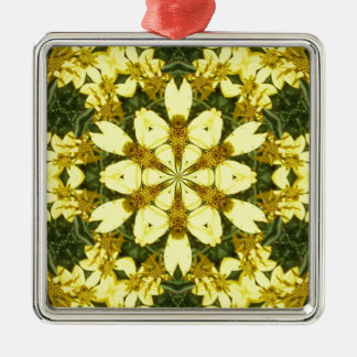 yellow floral abstract design daisies Silver-Colored square decoration