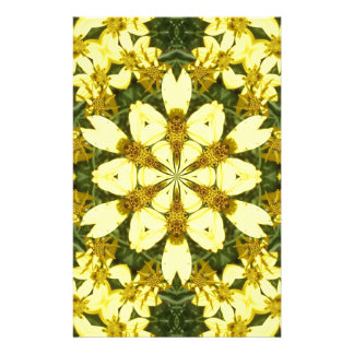 yellow floral abstract design daisies stationery