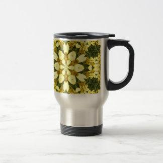 yellow floral abstract design daisies travel mug
