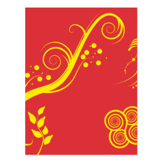 Yellow floral and swirls postcard