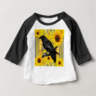 yellow floral  black crow & sunflowers art baby T-Shirt