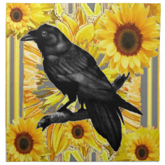 yellow floral  black crow & sunflowers art napkin
