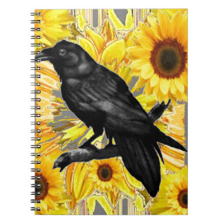 yellow floral  black crow & sunflowers art notebooks