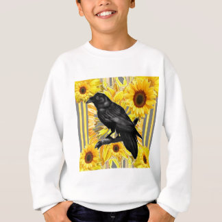 yellow floral  black crow & sunflowers art sweatshirt