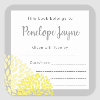 Yellow Floral Bookplate, bring a book baby shower Square Sticker