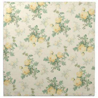 Yellow floral cloth napkin set home kitchen gift