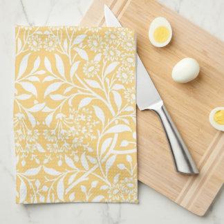 Yellow Floral Damask Pattern Tea Towel