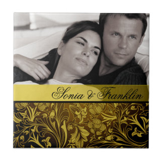 Yellow Floral Damask Photo Wedding Favour Small Square Tile