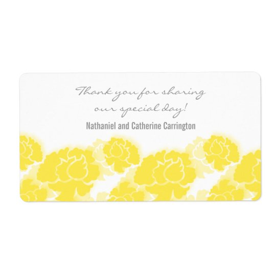 Yellow Floral Decadence Wedding Labels