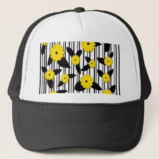 Yellow floral design trucker hat